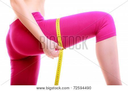 Fitness Woman Fit Girl With Measure Tape Measuring Her Thigh