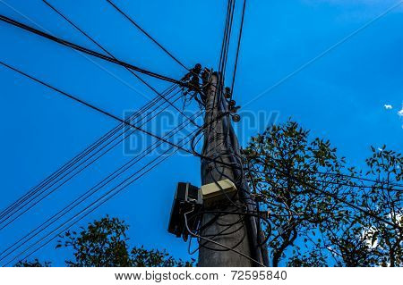 Electric pole and cables