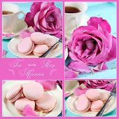Collage of stylish elegant shabby chic style vintage aqua blue tray with macarons cup of tea and bright pink rose with sample text. poster