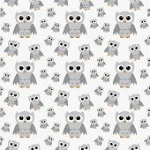 Gray Owls on White Textured Fabric Pattern Background that is seamless and repeats poster