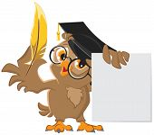 Wise owl holding a golden pen and a sheet of paper. Vector cartoon illustration poster