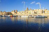 View of Senglea harbor one of the three cities Malta poster
