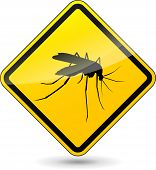 illustration of yellow beware mosquito sign on white background poster