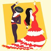 dancers typical Spanish flamenco vector illustration cartoon poster
