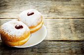Fresh Doughnuts With Jam For Hanukkah