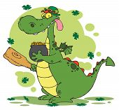 Dragon Leprechaun with a pot of gold and mace,background poster