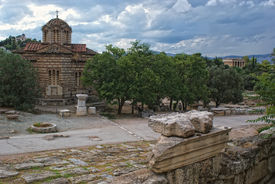 Old Byzantine Church In The Center Of Athens. Greece.