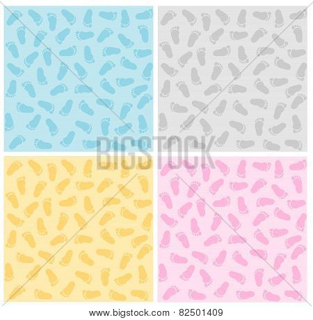 Baby Footprints Seamless Patterns