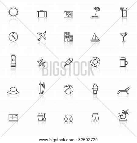 Summer Line Icons With Reflect On White Background