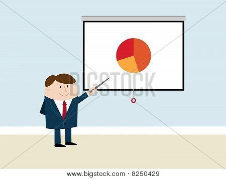 Happy Businessman Makes Presentation