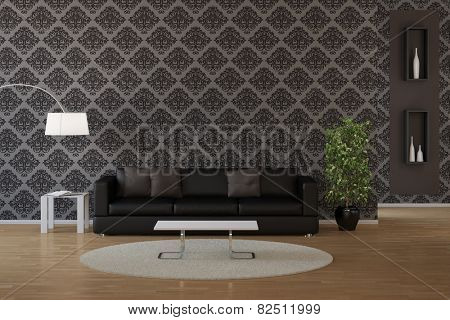 Wallpaper with classic dark floral pattern in a living room (3D Rendering)