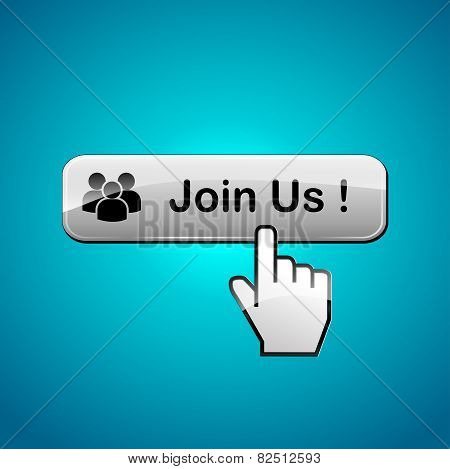 illustration of join us web button concept poster