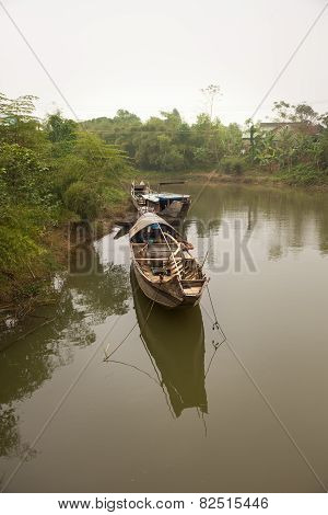 Fisherman boats on the river, Hue, Vietnam