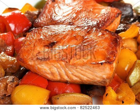 Salmon Teriyaki Over Vegetables