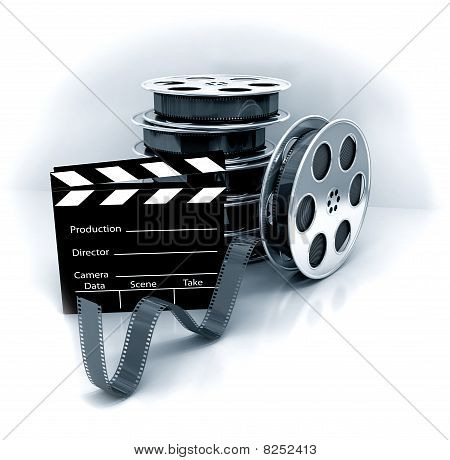 Film Slate With Movie Film Reel