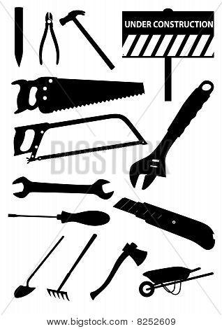 Set of detailed tools isolated on white background