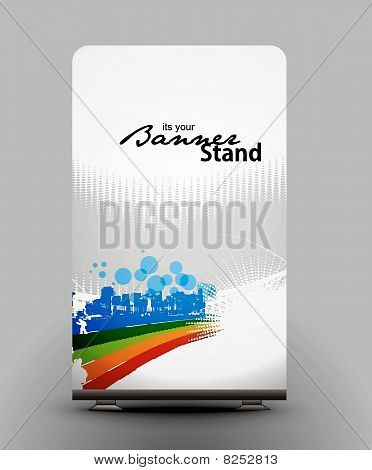 a roll-up display with stand banner template design
