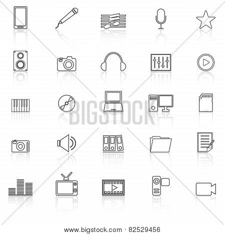 Media Line Iocns With Reflect On White Background