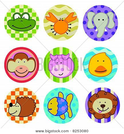 Animal icons stickers