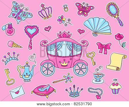 Cute Princess Sticker Set With Carriage