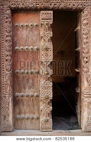 Antique, hand crafted wooden door, Stone Town, Zanzibar
