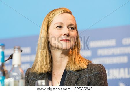 BERLIN, GERMANY - FEBRUARY 08: Laura Linney  attends the 'Mr. Holmes' press conference. 65th Berlinale International Film Festival at Grand Hyatt Hotel on February 8, 2015 in Berlin, Germany.