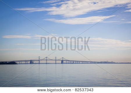 The Chesapeake Bay Bridge in Stevensville, Maryland built with a unique design that incorporates continuous truss, arch, cantilever, and suspension bridge types.