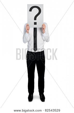 Isolated business man with question mark