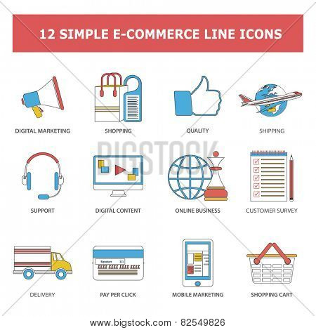 Set of modern simple line icons in flat design with long shadows for web, banners, covers, corporate brochures, logos, mobile applications, business, social networks etc. Vector eps10 illustration