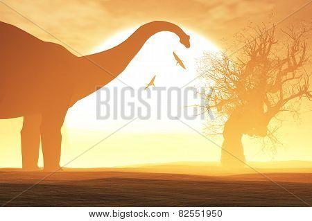 Dinosaurs in a Prehistoric Desert Sunset Sunrise
