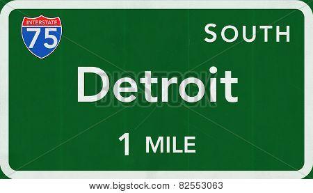 Detroit USA Interstate Highway Sign