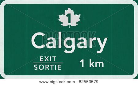 Calgary Canada Transcanada Highway Road Sign