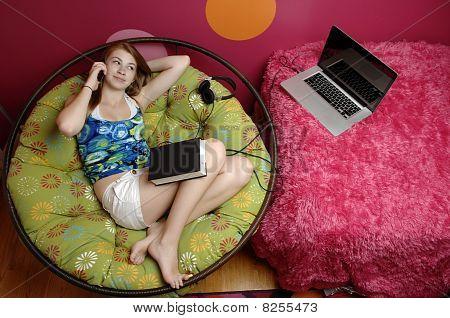 Teenage girl Using Cellphone