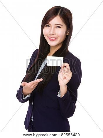 Businesswoman show with blank namecard