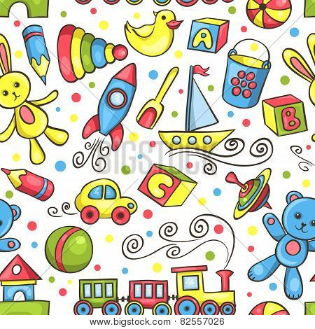 Cute Hand-drawn Seamless Pattern With Toys