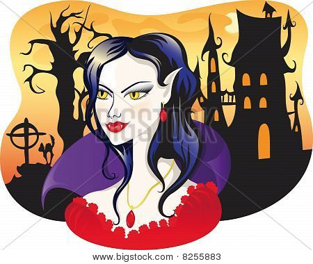 Beautiful Vampire On Halloween Background.eps