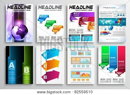 Set of Flyer Design, Web Templates. Brochure Designs, Technology Backgrounds. Mobile Technologies, Infographic ans statistic Concepts and Applications covers. poster