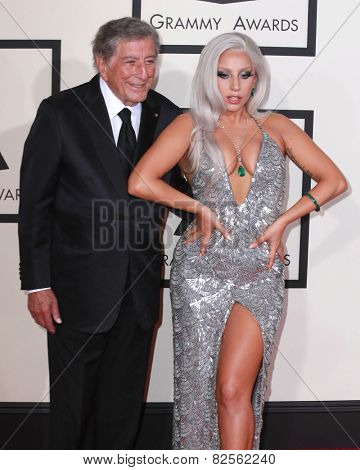 LOS ANGELES - FEB 8:  Tony Bennett, Lady Gaga at the 57th Annual GRAMMY Awards Arrivals at a Staples Center on February 8, 2015 in Los Angeles, CA