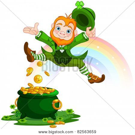 Illustration of joyful jumping leprechaun