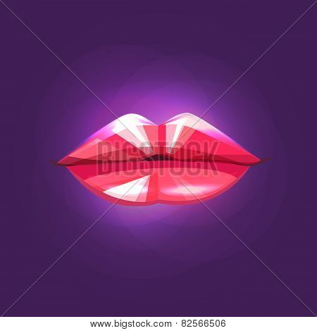 Diamond lips on purple background.