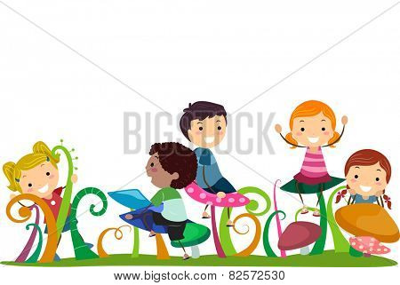 Illustration of Stickman Kids Playing With Mushrooms