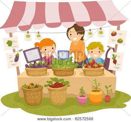 Illustration of Stickman Kids Manning a Fruit and a Vegetable Stand