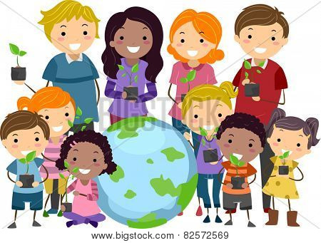 Illustration of Stickman Kids and Adults Carrying Saplings Standing Beside a Globe