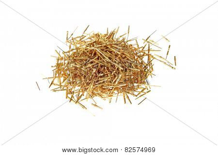 gold computer Scrap, connection pins, computer chips, wires, and various parts. Gold is an excellent conductor of electricity and is used in computers for super speed and efficiency.