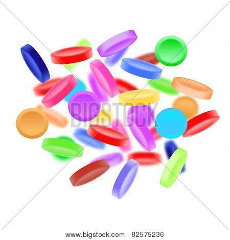 Sweet, Tasty, Colorful Candies On White Background