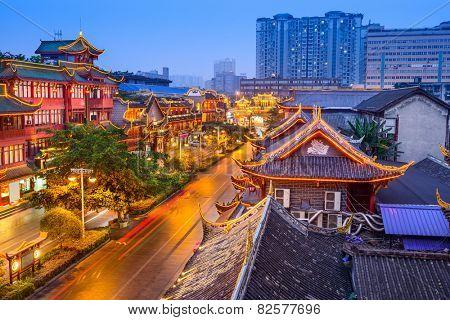 Chengdu, China cityscape over QIntai Road historic district.