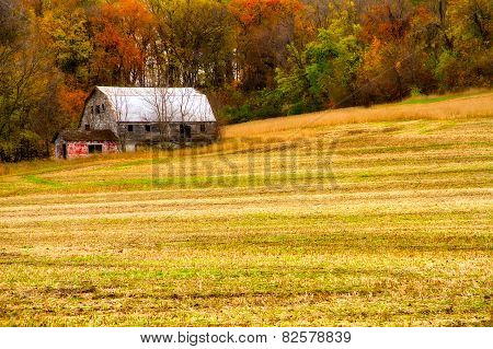 Abandoned Barn In The Fall