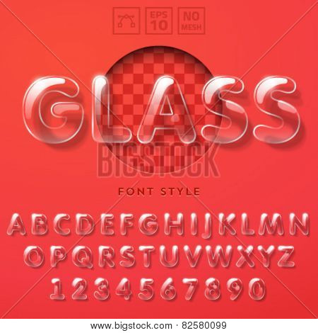 Vector latin alphabet made of glass tubes.