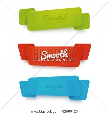 Vector set of translucent plastic banners with rounded corners. Trendy smooth materials.