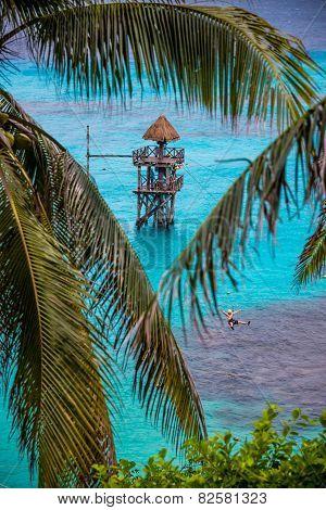 Zip Wire Adventure Over Caribbean Sea, Fun Mexico Tropical Island, Isla Mujeres.